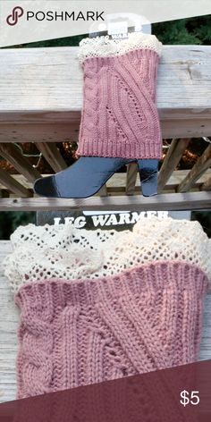 NWT Knit Boot Cuffs with Lace Trim NWT, Pink boot cuffs, perfect for any tall boots! Accessories Hosiery & Socks