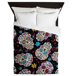 Funky Black Sugar Skulls Queen Duvet from CafePress