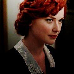 Moira O'Hara's red hair.                                                                               More