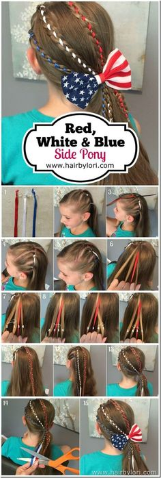 Red, White & Blue Side Pony Tutorial - of July hairstyle (kid hair braids styles) Little Girl Hairstyles, Pretty Hairstyles, Braided Hairstyles, Hairstyles Haircuts, Boy Haircuts, Modern Haircuts, Updo Hairstyle, Braided Updo, Latest Hairstyles