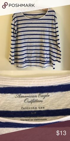 """Royal Blue Striped Favorite Tee Super soft """"favorite tee"""" from American Eagle. Gently used, but pre-loved. Has what appears to be minor pilling on the material, but I think it is just the material itself. The stripes are royal blue (refer to second photo for better clarification), and the neck is wider for more of a slouchy tee look. Looks super cute with dark jeans and red Vans, Toms, etc. American Eagle Outfitters Tops Tees - Long Sleeve"""
