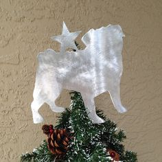 Pug, Dog Tree Topper, Holiday Decoration, Wreath Decoration, Christmas, Aluminum, Dog Stars