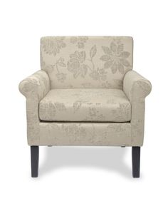 http://www.bonsoni.com/heima-fleur-cream-armchair-by-sherman  An elegant and modern styled chair in a chic and on-trend floral jacquard fabric. This chair features dark rubberwood legs. Leg assembly required.  http://www.bonsoni.com/heima-fleur-cream-armchair-by-sherman