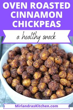 So crunchy, sweet and satisfying! These lovely oven roasted chick peas are easy to make and such a healthy and delicious snack.  Kids and toddlers love them and you can snack on a big bowl knowing you are getting good protein and vitamins and minerals.  Whip up a batch today! #snack #healthy #mealprep #easy #toddlerfood #babyledweaning Amazing Recipes, Delicious Recipes, Great Recipes, Easy Recipes, Soup Recipes, Snack Recipes, Favorite Recipes, Healthy Recipes, Easy Snacks