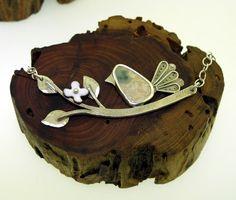 Bird on a Branch sterling silver and ocean by KathrynRiechert