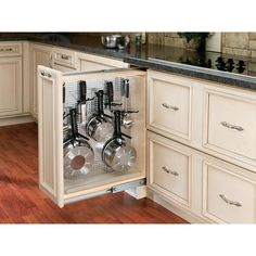 Rev-A-Shelf 30 in. H x 9 in. W x 23 in. D PullOut Between Cabinet Base Filler with Stainless Steel Panel and Ball-Bearing Soft-Close-433-BFBBSC-9C - The Home Depot New Kitchen Cabinets, Kitchen Cabinet Design, Open Cabinet Kitchen, Kitchen Cabinet Accessories, Kitchen Cabinet Organization, Cabinet Ideas, Kitchen Cabinets Design Layout, Kitchen Cabinet Dimensions, Frameless Kitchen Cabinets