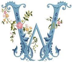 alfabeto celeste con flores W
