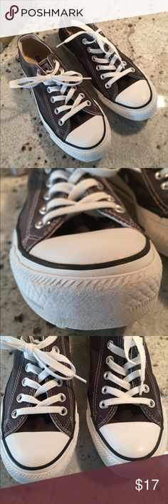 Converse all star chucks size 7 Converse all star low chucks in grey. Preloved condition. Small scuff on front right shoe. Doesn't impact wearability. Slight wear on bottom but overall great condition! Size 7 women Converse Shoes Sneakers