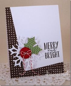 Maureen Plut: Papertrey Ink Fancy Flakes Die Collection, Tipped Tops Die, and Layered Postmarks: Holiday Die Collection 'Tis the Season Sentiments Stamp Set Homemade Christmas Cards, Christmas Cards To Make, Xmas Cards, Homemade Cards, Holiday Cards, Holly Christmas, Modern Christmas, Simple Christmas, Snowflake Cards