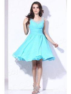 Scoop Knee Length Chiffon Blue Party Dress