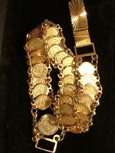 "21K 22k 21CT 22CT Gold 30 Saudi Gold Coins Arab Style Arabic Bracelet 8"" Long."