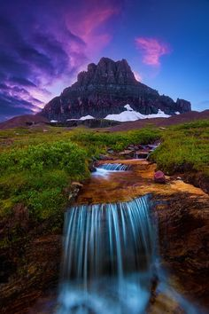 Beautiful Water fall in Glacier National Park, Montana United States