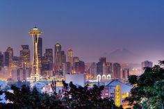 Seattle skyline at dusk photography. San Diego, San Francisco, Seattle Skyline, San Antonio, Washington State, Seattle Washington, Seattle Usa, Seattle Hotels, Nashville