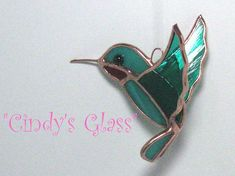 3D Hummingbird Teal w/red throat Stained Glass on Etsy, $12.50