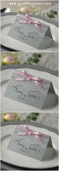 Grey & Pink Lace Wedding Place Card #romantic #lace #grey #pink #weddingideas #weddingcards #ribbon #weddingstationery