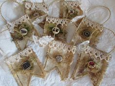 #vintage #VictorianChristmas #ornaments  https://www.etsy.com/listing/254905191/set-of-8-coffee-dyed-canvas-flags