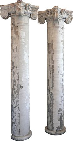 Wonderful Pair of Antique Ionic Columns with Terra Cotta Capitals, Greek Revival, 19th Century - For sale on Ruby Lane $850.00
