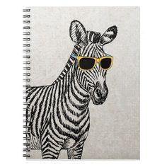 Cool cute funny zebra sketch with  trendy glasses note books #giftforteen #giftforkid