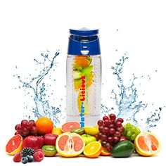 ACQUABLEND Premium Fruit Infused Water Bottle - 25oz Flip Top Fruit Infuser Leak Proof and BPA Free. Ideal for Sports and Outdoors with Introductory Recipe E-Book Included (Blue)