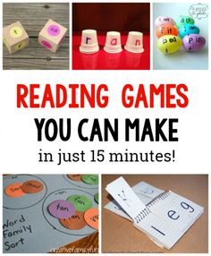 10 Simple to Make Reading Games for Kids. These are great for learning sight words word families and more Love these hands on ideas for Preschool Kindergarten grade grade and grade kids (great with Dolche words in homeschool) Reading Games For Kids, Teaching Reading, Kids Learning, Guided Reading, Learning To Read Games, 1st Grade Learning Games, First Grade Reading Games, Title 1 Reading, Reading Skills