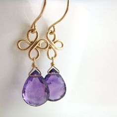 Amethyst Chandelier Earrings 14k Gold Fill February