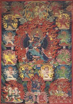 A Black Ground Thangka of Yamantaka Vajrabhairava   Tibet, 18th Century   The fierce deity striding in alidhasana with his consort and surrounded by numerous retinue and protector deities, all ensconced in fiery aureoles with various Gelugpa monks and Mahasiddhas, centered by Tsong Khapa and Manjushri seated within a circular refuge field above and a pair of dancing citipati, Yama Dharmaraja and Begtse Chen below.
