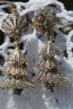 Vintage Sterling Silver Cannetille Filigree Ringing Bell Screw Back Earrings   eBay