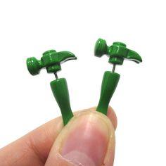 3D Fake Gauge Realistic Hammer Tool Stud Earrings in Green