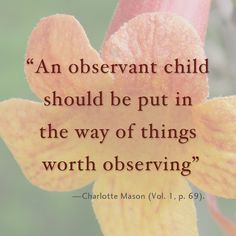 An observant child should be put in the way of things worth observing.