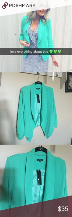 Seafoam Green Blazer This is a seafoam green blazer has shoulder pads. size medium. Polyester. Brand new with tags. Jackets & Coats Blazers
