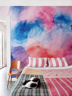Watercolor Fields Adhesive Wallpaper Removable by thinkimprint