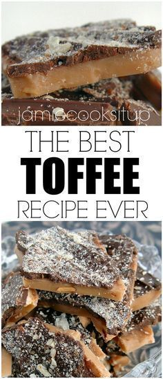 The best toffee recipe ever, from Jamie Cooks It Up!The best toffee recipe ever, from Jamie Cooks It Up! The Best Toffee Recipe, English Toffee Recipe, Crunchy Toffee Recipe, Butter Toffee Recipe, Candy Recipes, Sweet Recipes, Baking Recipes, Dessert Recipes, Baking Ideas