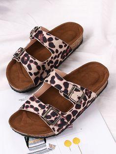 Two Buckle Straps Leopard Slides Sandals Slide Sandals, Women's Shoes Sandals, Leopard Sandals, Male Sandals, Summer Slippers, Rhinestone Shoes, Comfortable Sandals, Cheap Shoes, Sliders