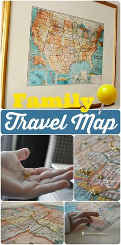 Blue Ribbon Kitchen: A Family Travel Map. DIY framed travel map to keep track of your adventures.
