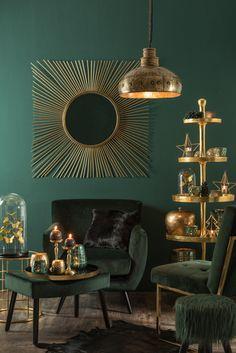 Collecties - J-Line Dark Green Living Room, Green Rooms, Art Deco Living Room, Living Room Designs, Art Deco Home, Home Decor Furniture, Home Decor Inspiration, Interior Design, Asymmetrical Balance