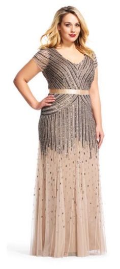 bcf20aacf4 Adrianna Papell Beaded V neck Gown Nude Gold Size 16 Style 09286895