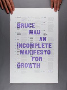 Bruce Mau Poster on Behance