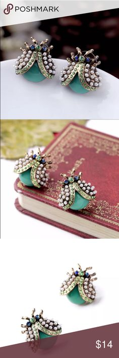 """💚SPARKLING GREEN GEMS LADYBUG EARRINGS! """"Luck be a lady!"""" This colorful ladybug is rich in symbolic meaning & with this adorable depiction sparkles with vivid green & blue crystals in a pearlescent set bringing its polkadot design to life. unknown Jewelry Earrings"""