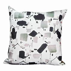 Country Ink Painting Velvet Decorative Pillow Cover – USD $ 15.99