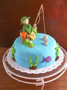 Fish Cake Birthday, Birthday Cakes For Men, Fisherman Cake, Fathers Day Cake, Retirement Cakes, Easy Cake Decorating, Pastry And Bakery, Themed Cupcakes, Novelty Cakes