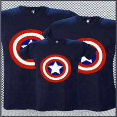 Camisetas Estampadas Para Toda La Familia Captain America Party, Captain America Birthday, 1st Birthday Shirts, Party Shirts, Family Shirts, Graphic Sweatshirt, Avengers Birthday Parties, Father And Son Shirts, Family Photo Shoot Ideas