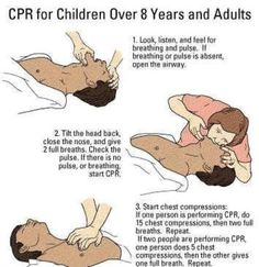 CPR for Children Over 8 Years and Adults Survival Prepping, Emergency Preparedness, Health And Safety, Health And Wellness, Provident Living, 72 Hour Kits, Scout Activities, Emergency Medicine, Charts And Graphs