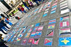 London's 'cultural meltingpot' as portrayed by a talented Street Artist here in Trafalgar Tourism London, Street Art London, Trafalgar Square, Melting Pot, Flags Of The World, Street Artists, Culture, Style, World Flags