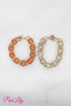 These gorgeous bracelets will simply have you glowing in any outfit! Featuring either classic clear stones or rose pink stones, this bracelet will add a pop of brightness to any look!