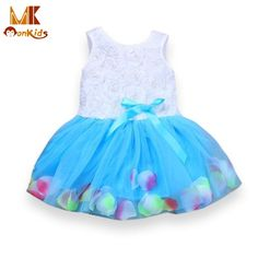 Monkids Girls Dresses 2017 Lace Flower tutu Girl Dress Blooms Bowknot Tulle Kids Baby Girl Dress Children Clothing Clothes