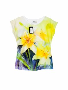 Artistic Female T-shirt with yellow Daffodils by ArtEgoDesigns