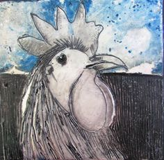 Poultry portrait V 200x200mm encaustic on board