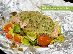 Baked Salmon with Pesto Wrapped in Foil