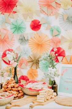Wedding dessert table backdrop // Bertram and Jasmine's Wedding With a Children's Corner and Paper Rosette Backdrop