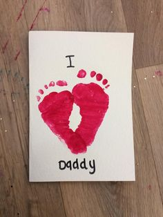 Endearing Footprint Art for Valentine's Day Toddler's Fun Gift for Dad